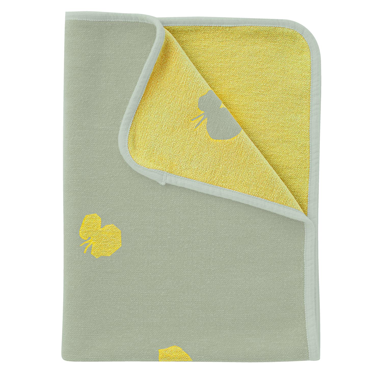 Chenil Cotton Mini Blanket CHOUCHO / Olive Yellow [KLIPPAN]